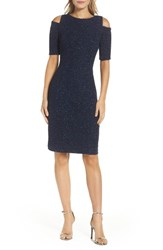 Eliza J Women's Cold Shoulder Sparkle Knit Sheath Dress Navy