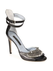 Dannijo Rina Crystal And Chain Leather Sandals Denim
