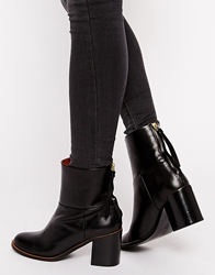 Whistles Zip Back Black Mid Heeled Boots