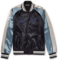 Valentino Embroidered Satin Bomber Jacket Navy
