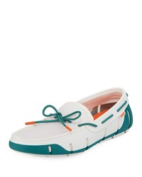 Swims Stride Mesh And Rubber Braided Lace Boat Shoes White