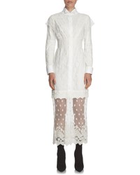 Burberry Shirting Dress With Lace Overlay White
