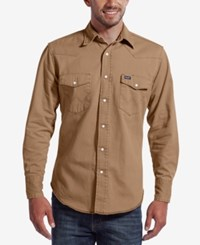 Wrangler Men's Washed Down Twill Long Sleeve Shirt Beige