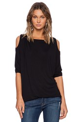 Michael Stars 3 4 Sleeve Open Shoulder Tunic Black