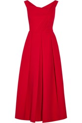 Preen By Thornton Bregazzi Finella Pleated Stretch Crepe Midi Dress Red
