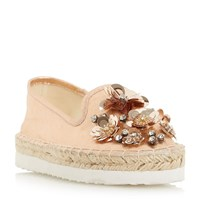 Head Over Heels Enista Floral Embellished Loafers Rose Gold