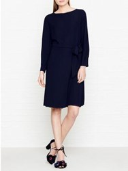 Reiss Primrose Long Sleeve Tie Waist Dress Navy