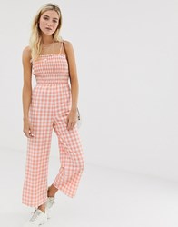 Glamorous Cami Jumpsuit With Shirring In Gingham Pink