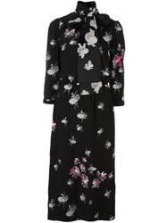 Marc Jacobs Floral Print Midi Dress Black