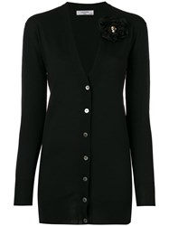 Lanvin Flower Brooch V Neck Cardigan Black