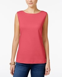 Karen Scott Boat Neck Tank Top Only At Macy's Peony Coral