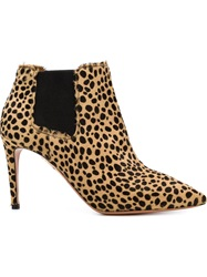 Aquazzura Leopard Print Booties Brown