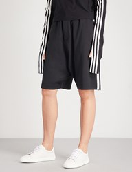 Y 3 Sport Stripes Slouchy Fit Jersey Shorts Black Core White