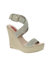 London Rebel Braided Wedge Sandals Gold