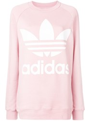 Adidas Logo Print Sweatshirt Pink And Purple