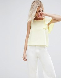 Pull And Bear Frill One Shoulder Crop Top Yellow