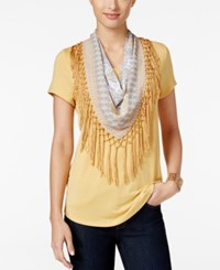 Styleandco. Style Co. T Shirt With Fringe Scarf Only At Macy's Light Mango