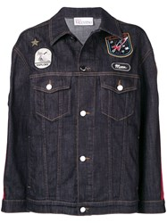 Red Valentino Patch Detailed Denim Jacket Blue