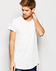 Blend Of America Blend T Shirt V Neck Loose Longline Fit In Off White Off White