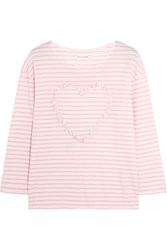Chinti And Parker Appliqued Striped Cotton Jersey Top Baby Pink