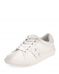 J Slides Wyatt Leather Studded Platform Sneaker White