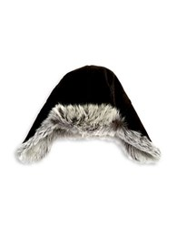 Ugg Shearling And Fur Lined Trapper Hat Black