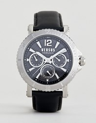 Versus By Versace Steenberg Vsp520218 Chronograph Leather Watch In Black 45Mm