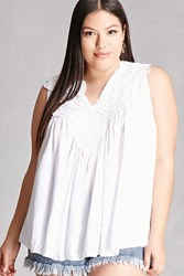 Forever 21 Plus Size Crochet Tank Top Ivory
