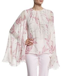 Giambattista Valli Lilly Of The Valley Cape Sleeve Blouse White Pink White Pink Lily O