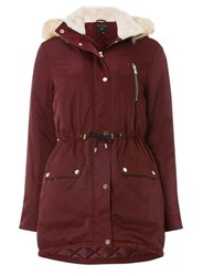 Dorothy Perkins Burgundy Luxe Faux Fur Parka Coat Red