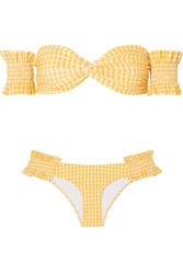Caroline Constas Andros Off The Shoulder Shirred Gingham Bikini Yellow