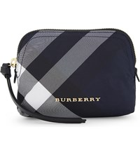 Burberry Checked Small Nylon Pouch Indigo Blue