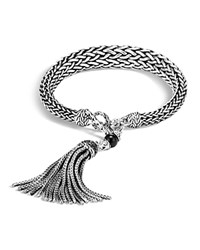 John Hardy Sterling Silver Classic Chain Graduated Tassel Bracelet With Black Onyx And Black Sapphire Black Silver