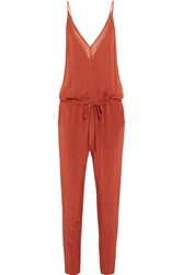 Mason By Michelle Mason Silk Chiffon Jumpsuit Brick