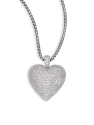 Adriana Orsini Large Pave Heart Pendant Necklace Silver