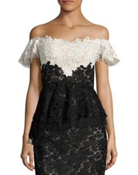 Rene Ruiz Lace Ruffled Lace Silk Blend Corset Top Black
