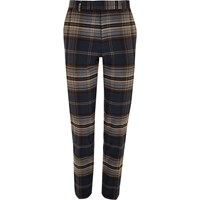 River Island Big And Tall Navy Check Smart Trousers