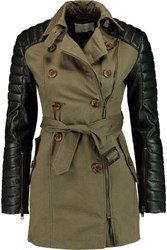 W118 By Walter Baker Keanu Quilted Leather Paneled Cotton Trench Coat Army Green