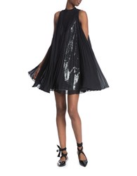 Tracy Reese Pleated Overlay Dress Black