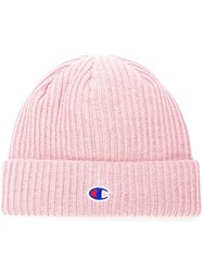 Champion Logo Patch Beanie Pink And Purple