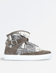 Hi Pad Highpad Map Print Suede And Canvas Trainers Grey Dark