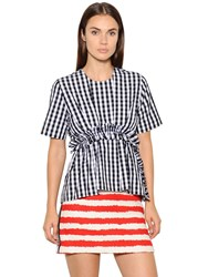Msgm Ruffled And Checked Cotton Poplin Top