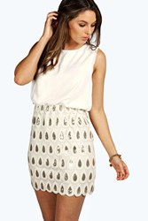 Boohoo Naya Sequin Chiffon Bodycon Dress Cream