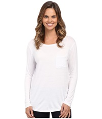 Cj By Cookie Johnson Pocket Tee White Women's Long Sleeve Button Up