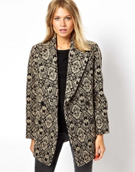 Mango Patterned Coat Black