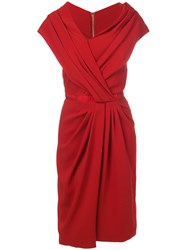 Vionnet Ruched Asymmetric Dress Red