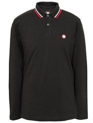 Pretty Green Long Sleeve Tipped Pique Polo Black