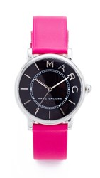 Marc Jacobs Roxy Leather Watch Sterling Silver Black Fuchsia