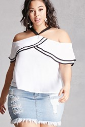 Forever 21 Plus Size Flounce Halter Top White
