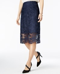 Bar Iii Crochet Lace Pencil Skirt Only At Macy's Navy Blazer